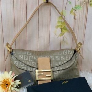 Authentic Fendi FF Monogram Mini Shoulder Bag